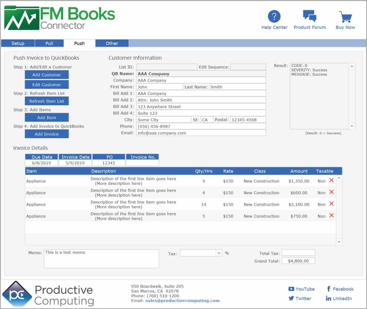 FM Books Connector - FileMaker to QuickBooks - Productive