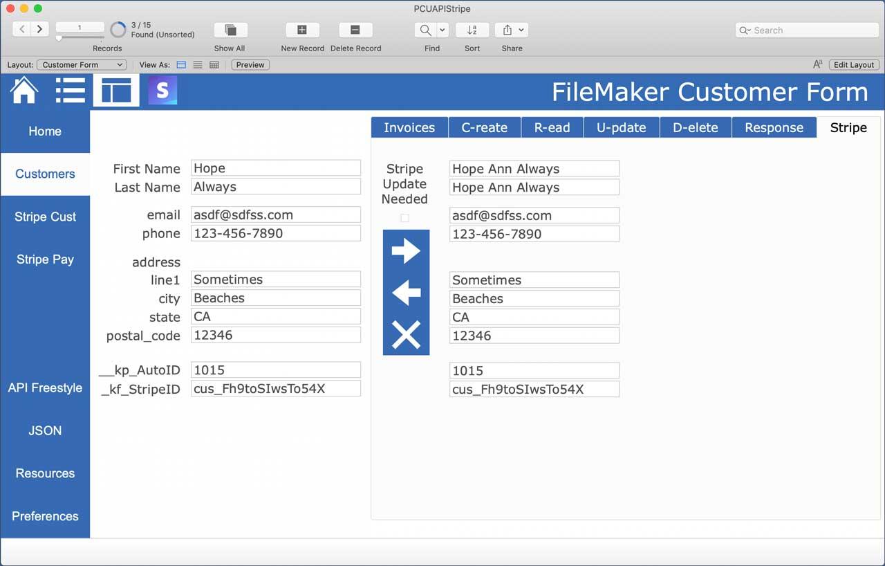 FileMaker Stripe API Customer Data