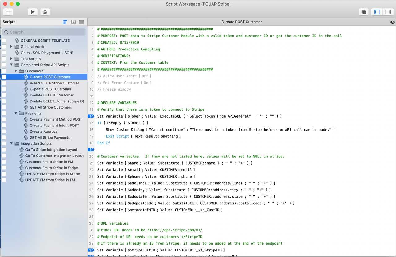 FileMaker Stripe API Script Post