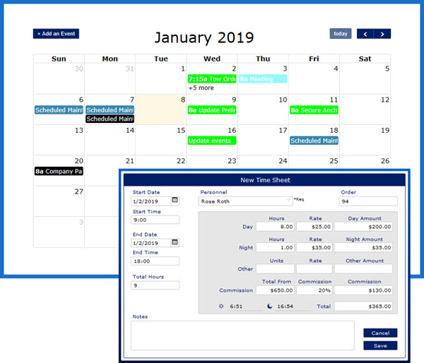 VSS has a robust calendar module and time tracking