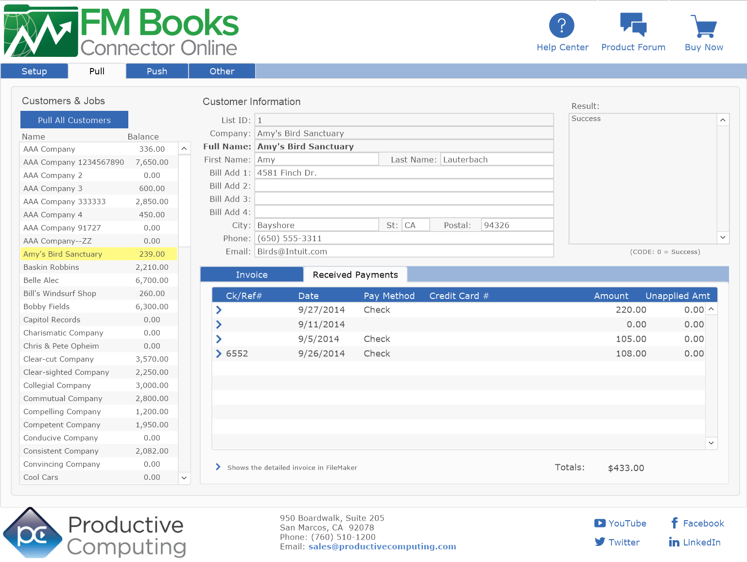 FM Books Connector Online Example